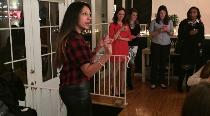 Pax Tandon speaks at Holly Jolly Lash Bash