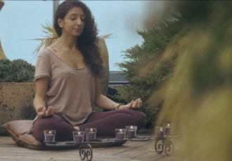Still from Mindfulness Matter and Pax Tandon meditatiing
